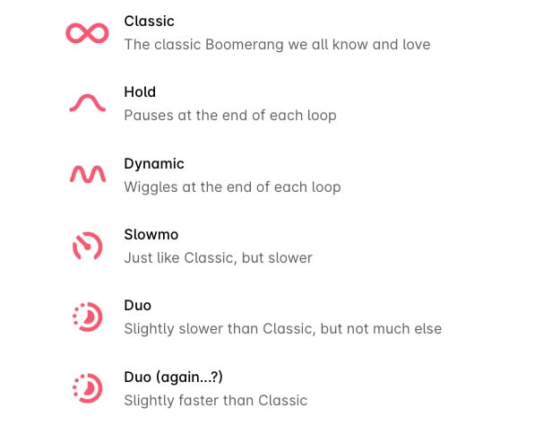 Tipos de Boomerang